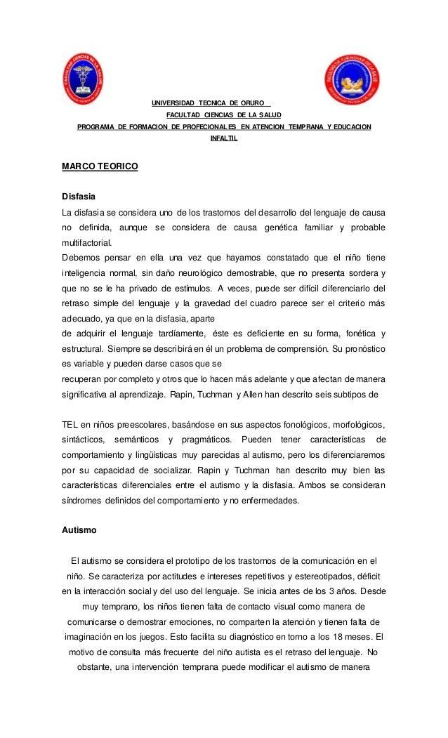UNIVERSIDAD TECNICA DE ORURO FACULTAD CIENCIAS DE LA SALUD PROGRAMA DE FORMACION DE PROFECIONALES EN ATENCION TEMPRANA Y E...