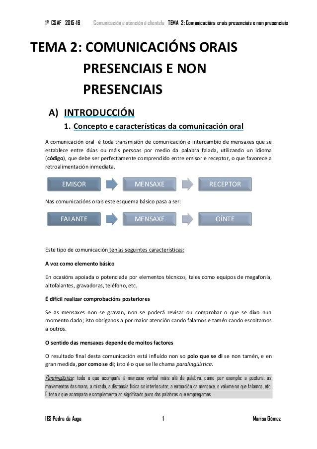 1º CSAF 2015-16 Comunicación e atención á clientela TEMA 2: Comunicacións orais presenciais e non presenciais IES Pedra da...
