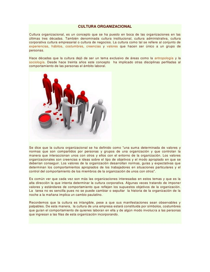 CULTURA ORGANIZACIONALCultura organizacional, es un concepto que se ha puesto en boca de las organizaciones en lasúltimas ...
