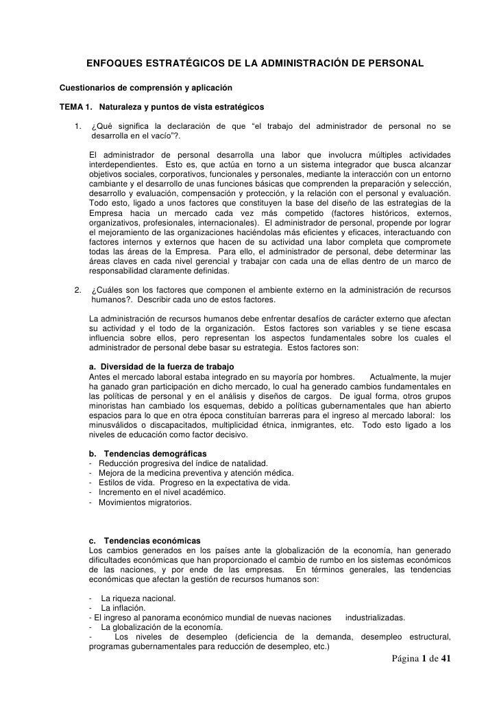ENFOQUES ESTRATÉGICOS DE LA ADMINISTRACIÓN DE PERSONALCuestionarios de comprensión y aplicaciónTEMA 1. Naturaleza y puntos...