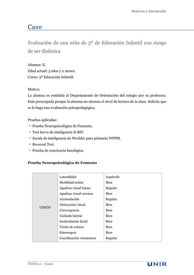 Dislexia y discalculia TEMA 2 – Caso Caso Evaluación de una niña de 3º de Educación Infantil con riesgo de ser disléxica A...