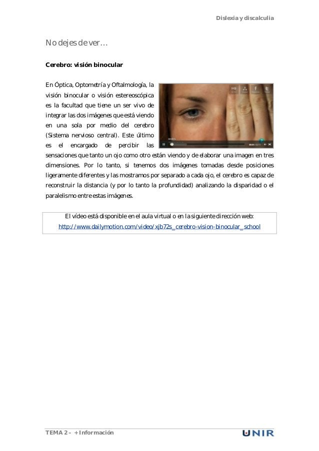 Dislexia y discalculia TEMA 2 – + Información No dejes de ver… Cerebro: visión binocular En Óptica, Optometría y Oftalmolo...