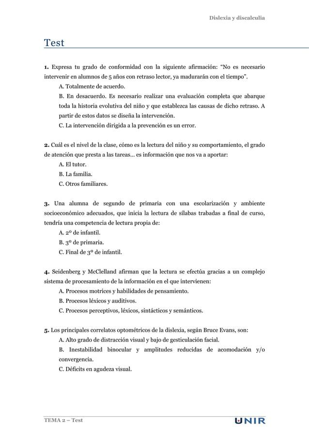 """Dislexia y discalculia TEMA 2 – Test Test 1. Expresa tu grado de conformidad con la siguiente afirmación: """"No es necesario..."""