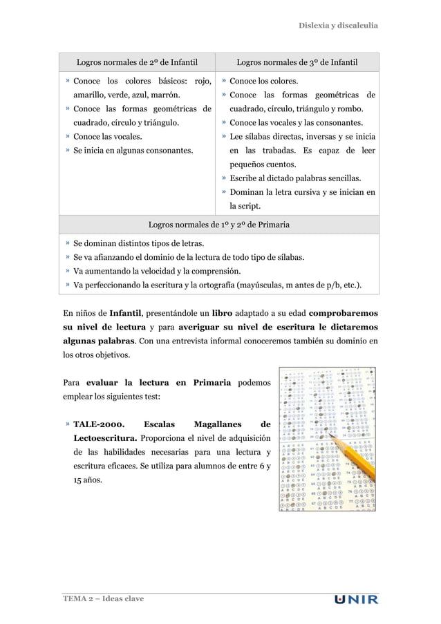 Dislexia y discalculia TEMA 2 – Ideas clave Logros normales de 2º de Infantil Logros normales de 3º de Infantil Conoce los...