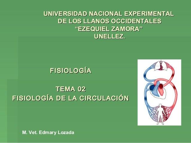 FISIOLOGÍAFISIOLOGÍA TEMA 02TEMA 02 FISIOLOGÍA DE LA CIRCULACIÓNFISIOLOGÍA DE LA CIRCULACIÓN UNIVERSIDAD NACIONAL EXPERIME...