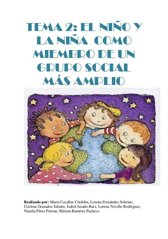 TEMA 2: EL NIÑO Y  LA NIÑA COMO  MIEMBRO DE UN  GRUPO SOCIAL   MÁS AMPLIORealizado por: Marta Cazallas Córdoba, Lorena Fer...