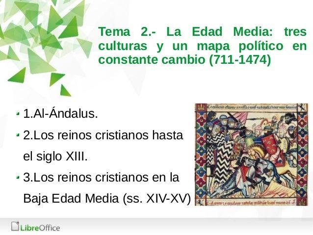 Tema 2.- La Edad Media: tres culturas y un mapa político en constante cambio (711-1474) 1.Al-Ándalus. 2.Los reinos cristia...