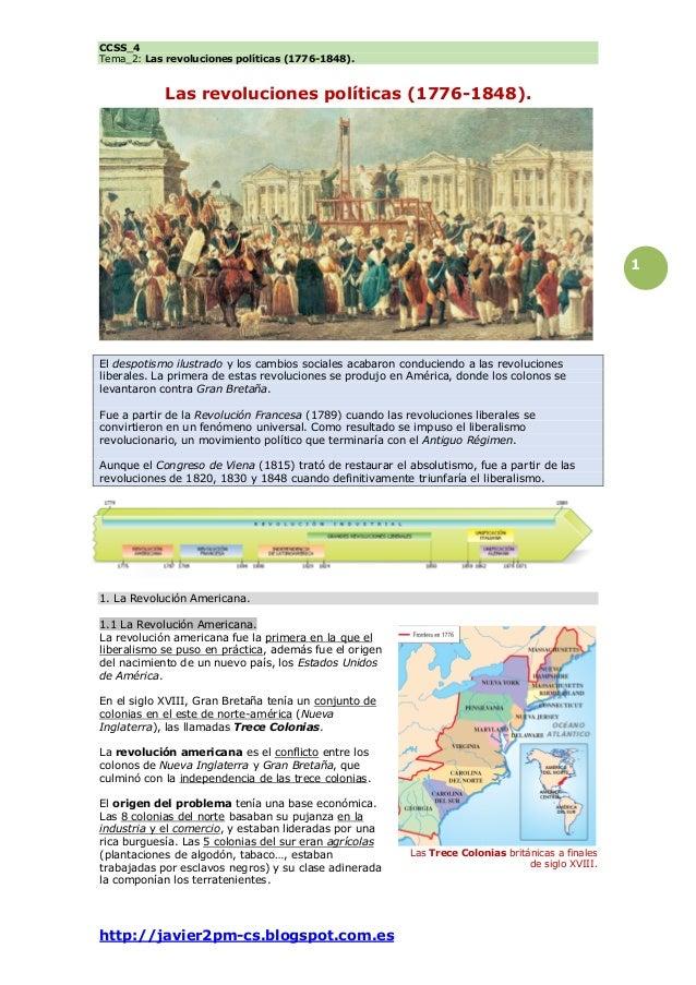 CCSS_4 Tema_2: Las revoluciones políticas (1776-1848). http://javier2pm-cs.blogspot.com.es 1 Las revoluciones políticas (1...