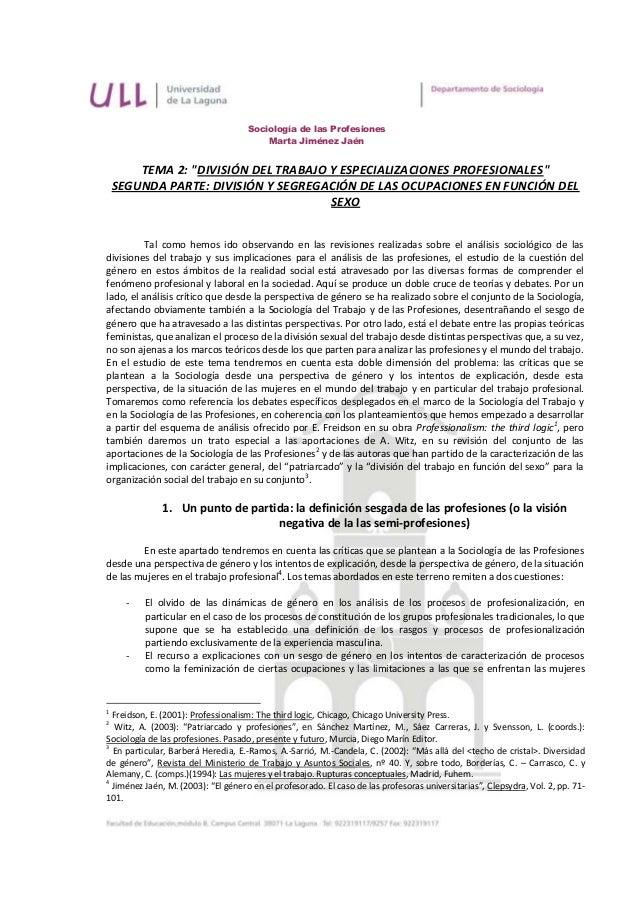 """Sociología de las Profesiones                                         Marta Jiménez Jaén        TEMA 2: """"DIVISIÓN DEL TRAB..."""