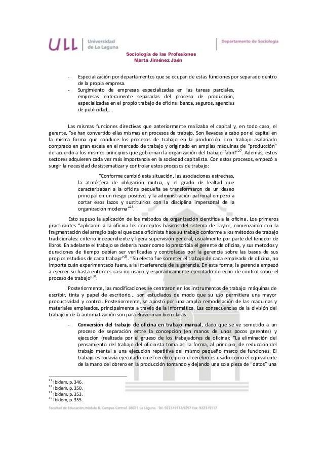 Sociología de las Profesiones                                       Marta Jiménez Jaén          -    Especialización por d...