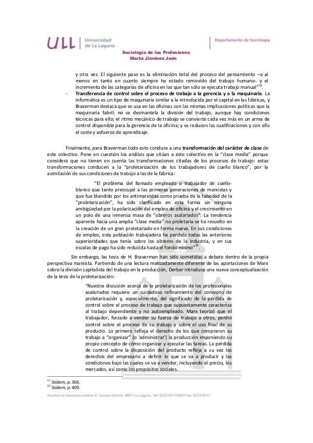 Sociología de las Profesiones                                           Marta Jiménez Jaén                 y otra vez. El ...