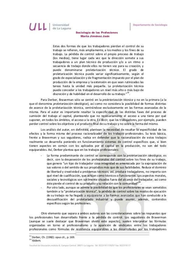 Sociología de las Profesiones                                                 Marta Jiménez Jaén                       Est...