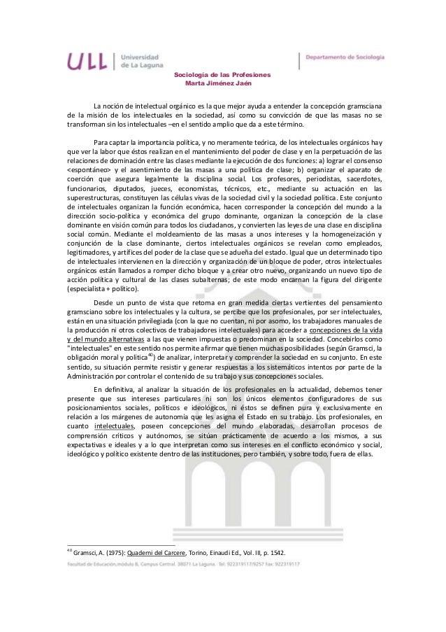 Sociología de las Profesiones                                              Marta Jiménez Jaén        La noción de intelect...