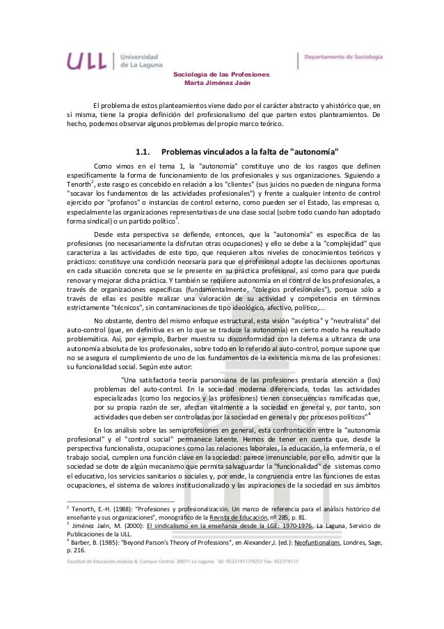 Sociología de las Profesiones                                         Marta Jiménez Jaén        El problema de estos plant...