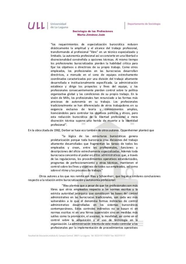 """Sociología de las Profesiones                                     Marta Jiménez Jaén                 """"los requerimientos d..."""
