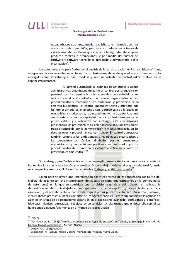 Sociología de las Profesiones                                        Marta Jiménez Jaén                   estandarizados q...