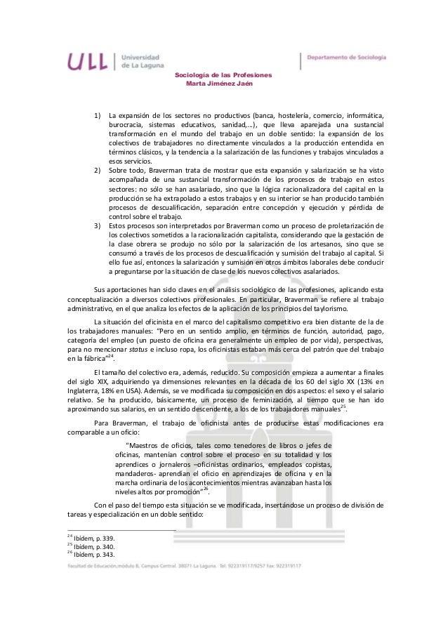 Sociología de las Profesiones                                          Marta Jiménez Jaén          1)   La expansión de lo...