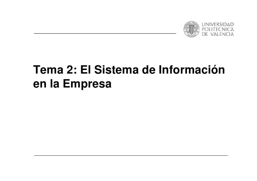 Tema 2: El Sistema de Información en la Empresa