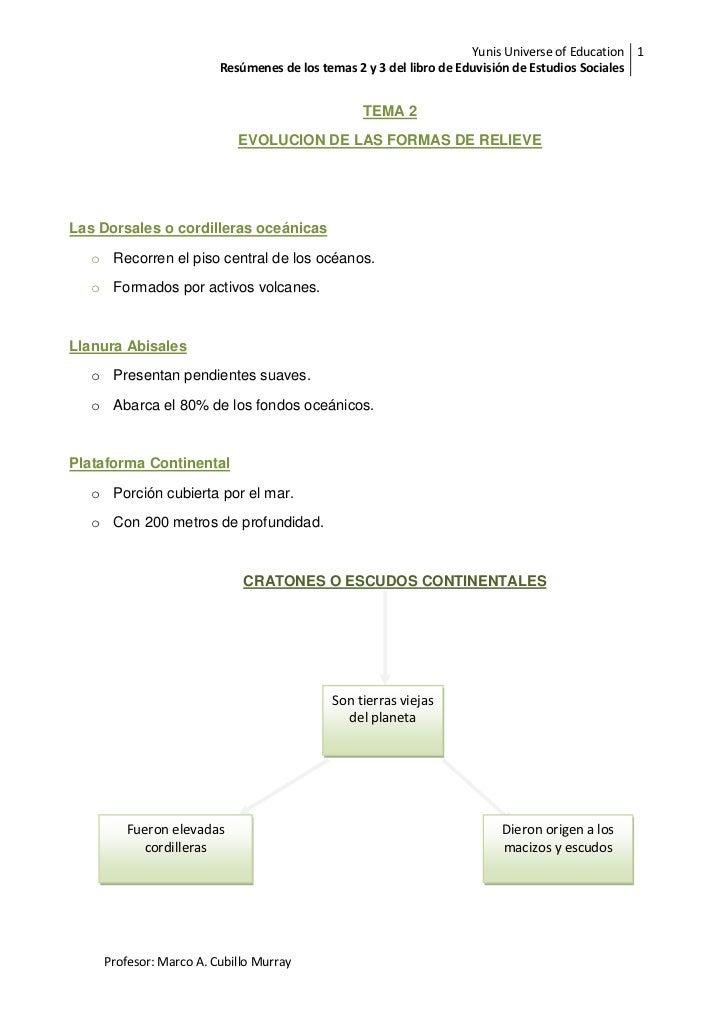 Yunis Universe of Education 1                        Resúmenes de los temas 2 y 3 del libro de Eduvisión de Estudios Socia...