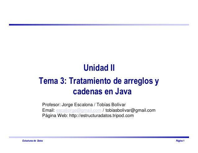 EstucturasEstucturas de Datosde Datos PPááginagina 11 Unidad II Tema 3: Tratamiento de arreglos y cadenas en Java Profesor...