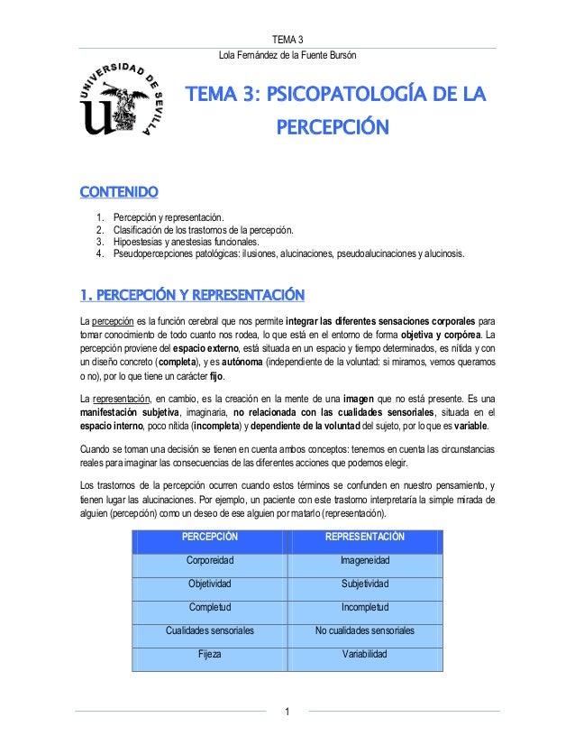 TEMA 3 Lola Fernández de la Fuente Bursón 1 TEMA 3: PSICOPATOLOGÍA DE LA PERCEPCIÓN CONTENIDO 1. Percepción y representaci...