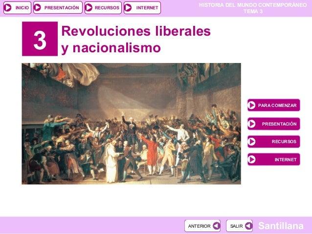 HISTORIA DEL MUNDO CONTEMPORÁNEO TEMA 3 RECURSOS INTERNETPRESENTACIÓN Santillana INICIO SALIRSALIRANTERIORANTERIOR 3 Revol...