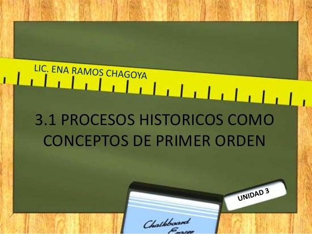 3.1 PROCESOS HISTORICOS COMO CONCEPTOS DE PRIMER ORDEN