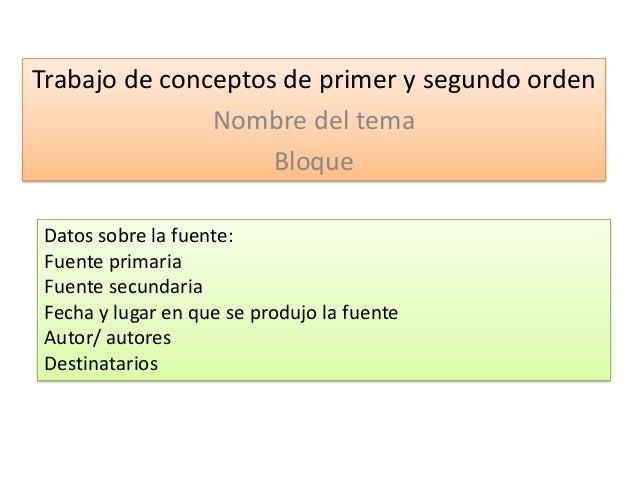 Trabajo de conceptos de primer y segundo orden Nombre del tema Bloque Datos sobre la fuente: Fuente primaria Fuente secund...