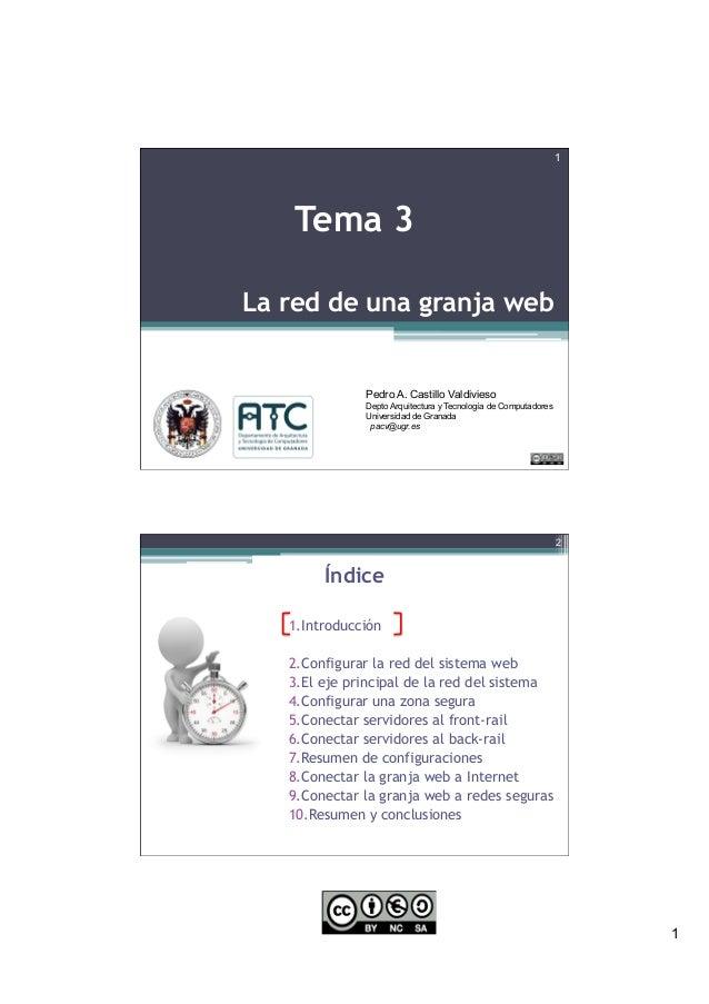 1 La red de una granja web 1 Tema 3 Pedro A. Castillo Valdivieso Depto Arquitectura y Tecnología de Computadores Universid...