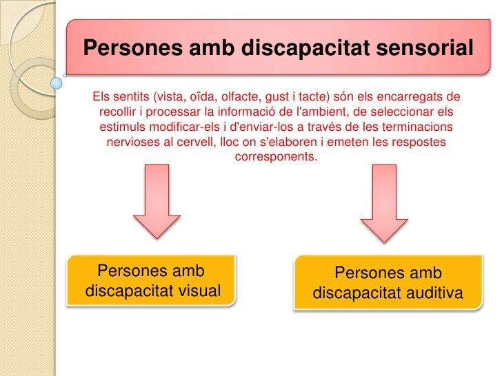 Persones ambdiscapacitat sensorial<br />Elssentits (vista, oïda, olfacte, gust i tacte) sónelsencarregats de recollir i pr...