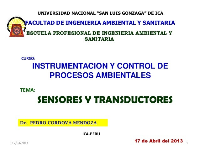 """UNIVERSIDAD NACIONAL """"SAN LUIS GONZAGA"""" DE ICA        FACULTAD DE INGENIERIA AMBIENTAL Y SANITARIA        ESCUELA PROFESIO..."""