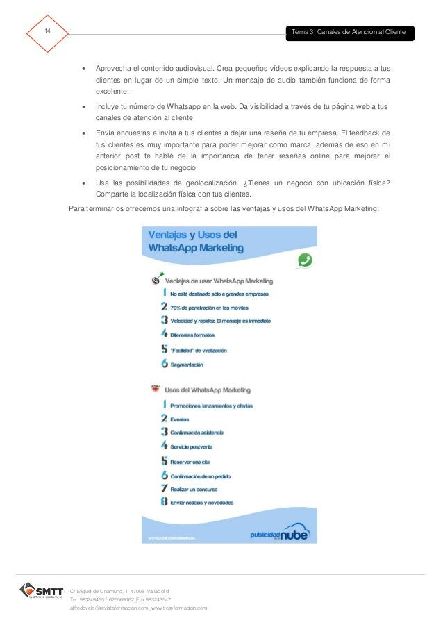 Tema 3. Canales de Atención al Cliente15 C/ Miguel de Unamuno, 1_47008_Valladolid Tel. 983249455 / 625569162_Fax 983243547...