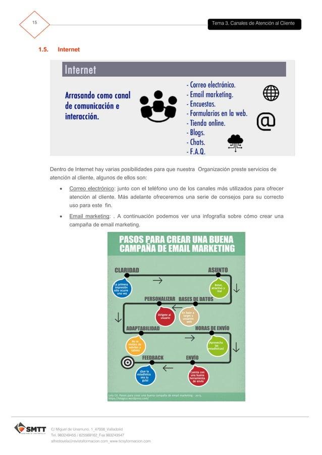 Tema 3. Canales de Atención al Cliente16 C/ Miguel de Unamuno, 1_47008_Valladolid Tel. 983249455 / 625569162_Fax 983243547...