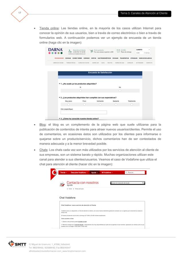 Tema 3. Canales de Atención al Cliente18 C/ Miguel de Unamuno, 1_47008_Valladolid Tel. 983249455 / 625569162_Fax 983243547...