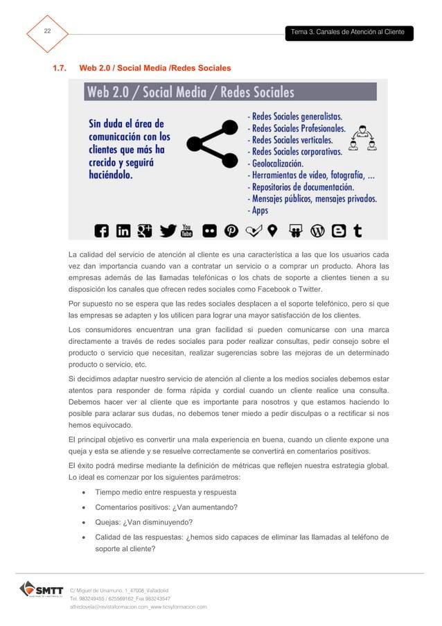 Tema 3. Canales de Atención al Cliente23 C/ Miguel de Unamuno, 1_47008_Valladolid Tel. 983249455 / 625569162_Fax 983243547...