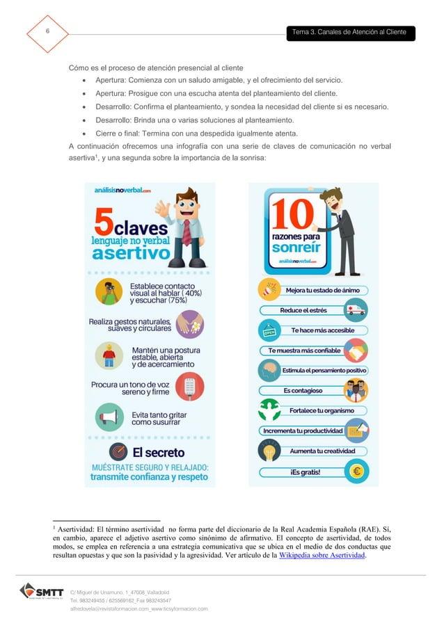 Tema 3. Canales de Atención al Cliente7 C/ Miguel de Unamuno, 1_47008_Valladolid Tel. 983249455 / 625569162_Fax 983243547 ...
