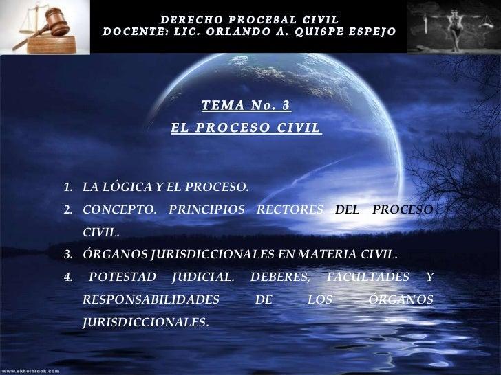 1. LA LÓGICA Y EL PROCESO.2. CONCEPTO. PRINCIPIOS RECTORES DEL PROCESO     CIVIL.3. ÓRGANOS JURISDICCIONALES EN MATERIA CI...
