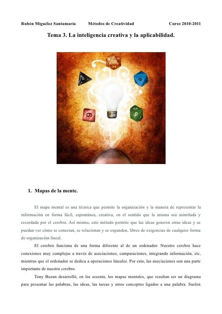 Rubén Miguélez Santamaría            Métodos de Creatividad                       Curso 2010-2011                Tema 3. L...