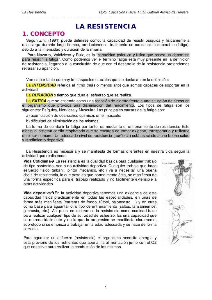 La Resistencia                         Dpto. Educación Física I.E.S. Gabriel Alonso de Herrera____________________________...