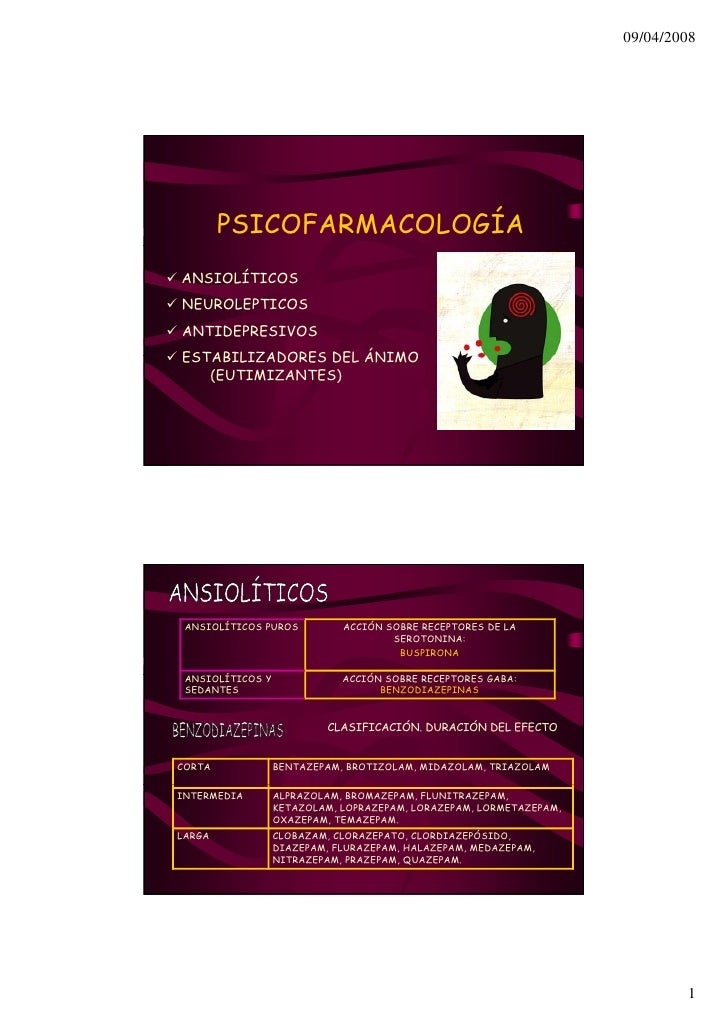 09/04/2008             PSICOFARMACOLOGÍA ANSIOLÍTICOS NEUROLEPTICOS ANTIDEPRESIVOS ESTABILIZADORES DEL ÁNIMO    (EUTIMIZAN...