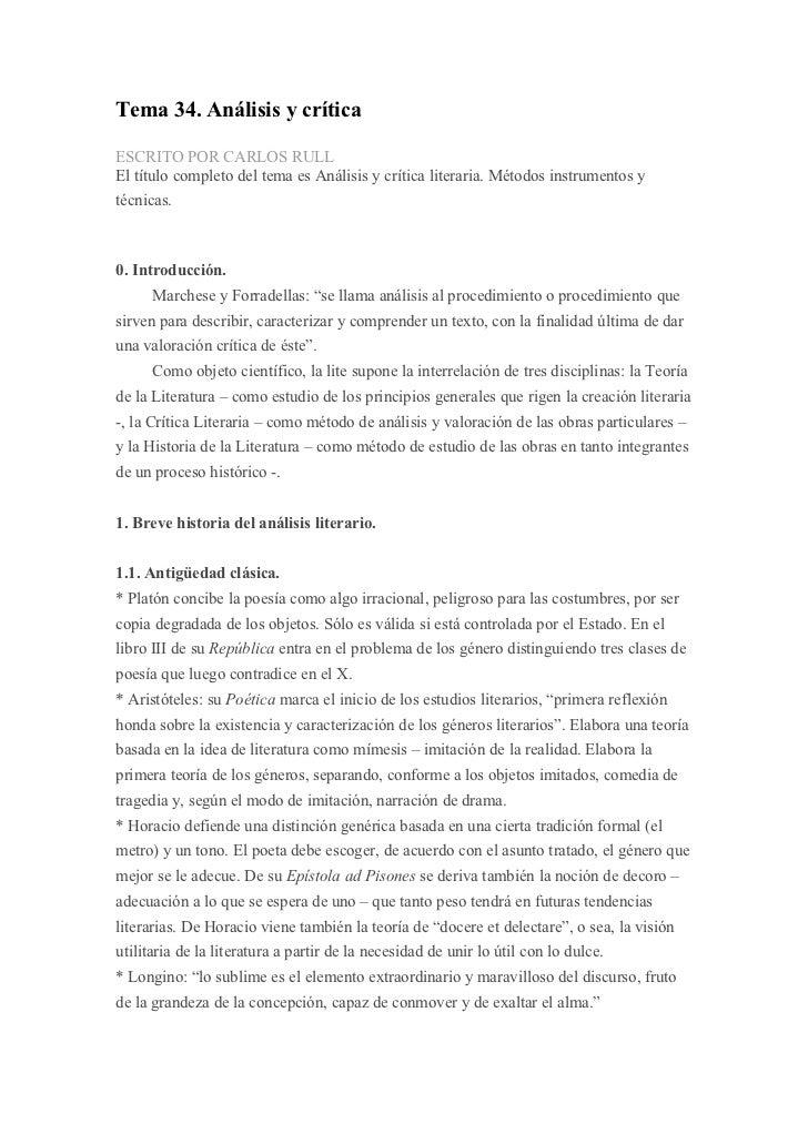 Tema 34. Análisis y críticaESCRITO POR CARLOS RULLEl título completo del tema es Análisis y crítica literaria. Métodos ins...