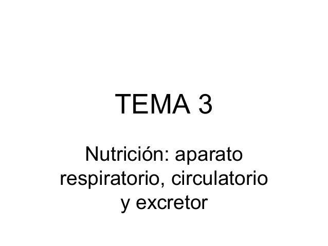 TEMA 3 Nutrición: aparato respiratorio, circulatorio y excretor