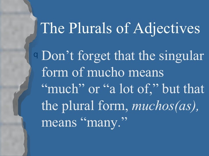 Tema 3b the plural of adjectives for Bureau plural form