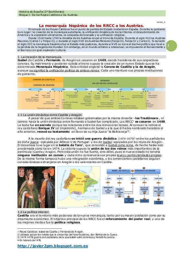 Historia de España (2º Bachillerato) Bloque I: De los Reyes Católicos a los Austrias. http://javier2pm.blogspot.com.es 1 t...