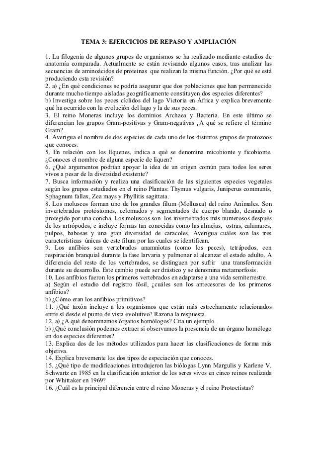 TEMA 3: EJERCICIOS DE REPASO Y AMPLIACIÓN1. La filogenia de algunos grupos de organismos se ha realizado mediante estudios...