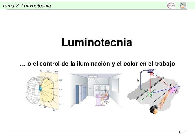 3 - 1 Tema 3: Luminotecnia Luminotecnia … o el control de la iluminación y el color en el trabajo