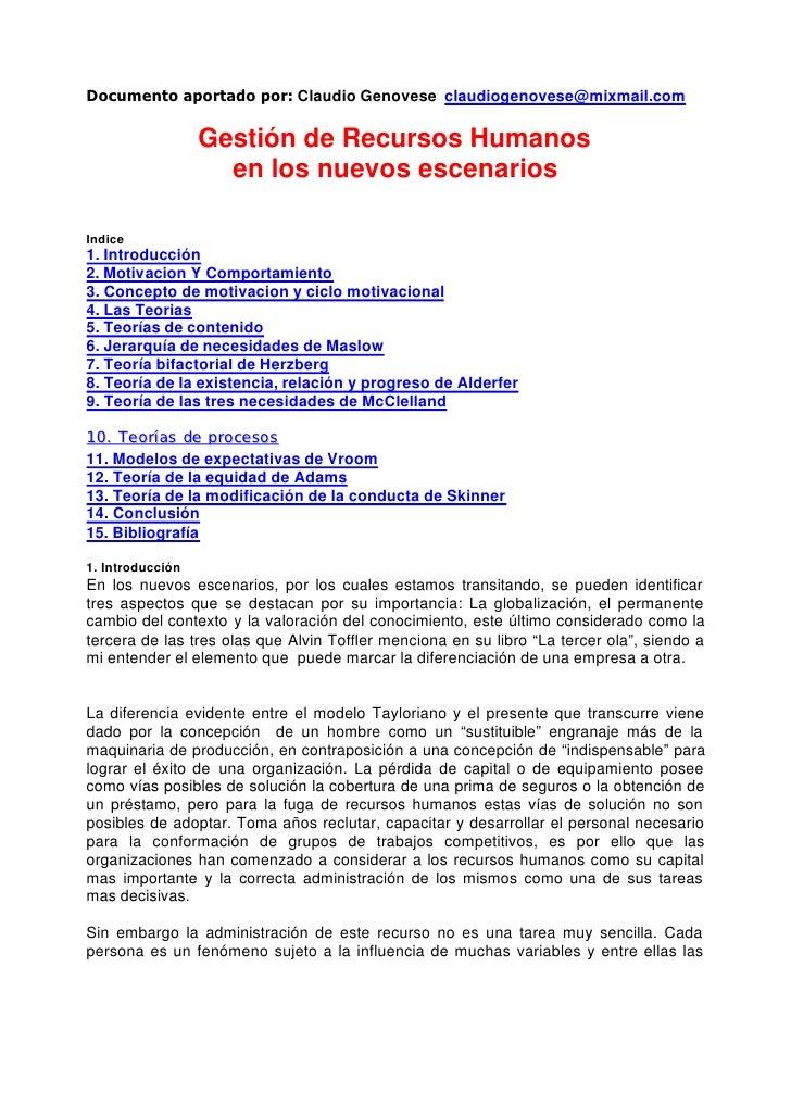 Documento aportado por: Claudio Genovese claudiogenovese@mixmail.com                  Gestión de Recursos Humanos         ...