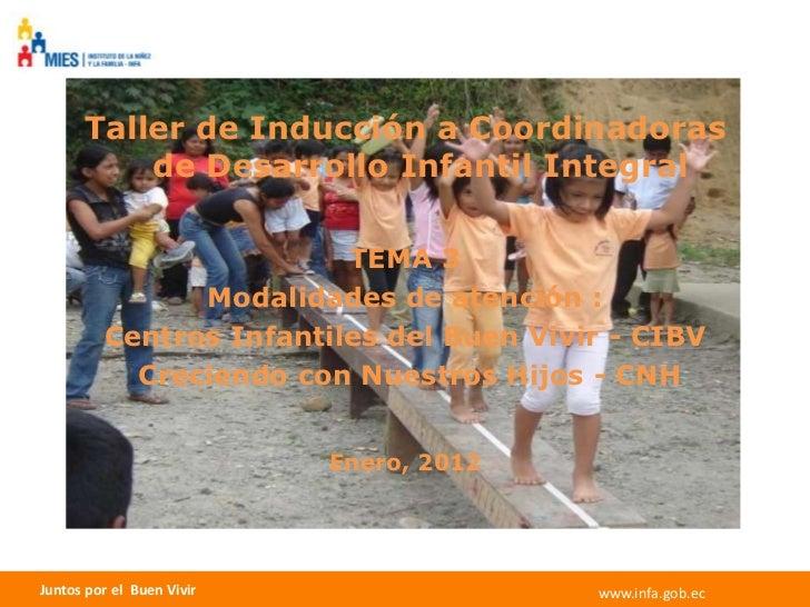 Taller de Inducción a Coordinadoras          de Desarrollo Infantil Integral                         TEMA 3               ...