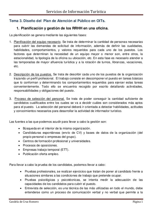 Servicios de Información Turística Candela de Cruz Romero Página 1 Tema 3. Diseño del Plan de Atención al Público en OITs....