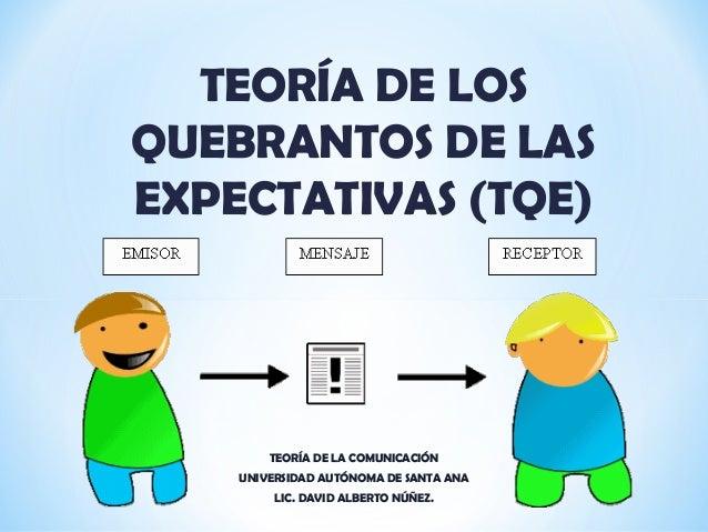 TEORÍA DE LOS QUEBRANTOS DE LAS EXPECTATIVAS (TQE) TEORÍA DE LA COMUNICACIÓN UNIVERSIDAD AUTÓNOMA DE SANTA ANA LIC. DAVID ...